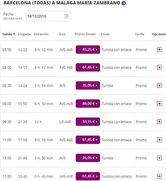 Расписание поездов Барселона - Малага