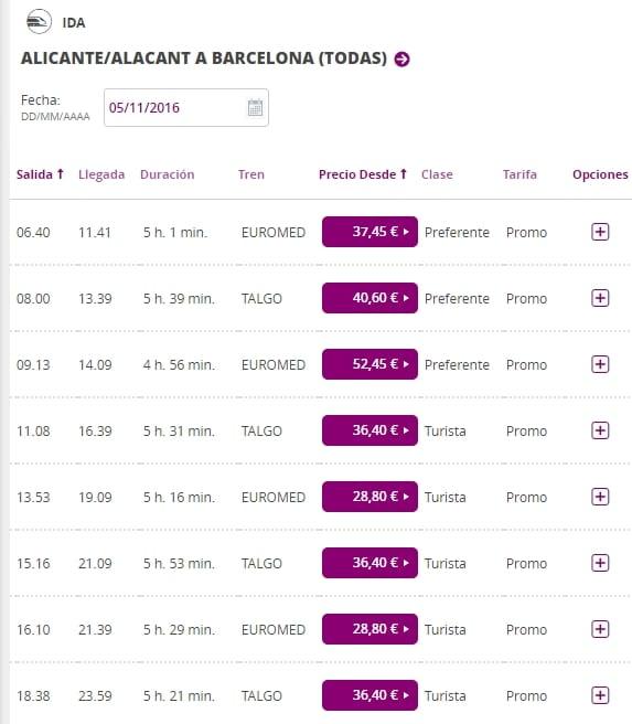 Расписание поездов из Аликанте в Барселону