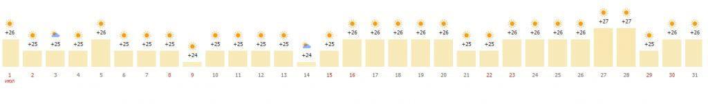 Средняя температура в июля по дням
