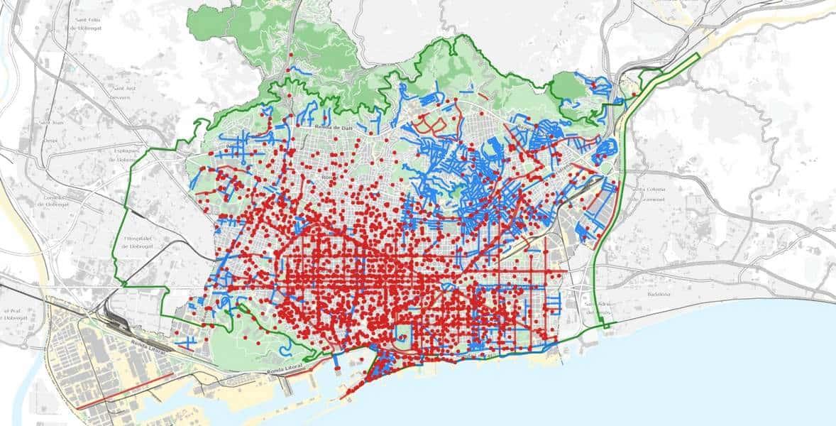 Весолосипедная карта Барселоны