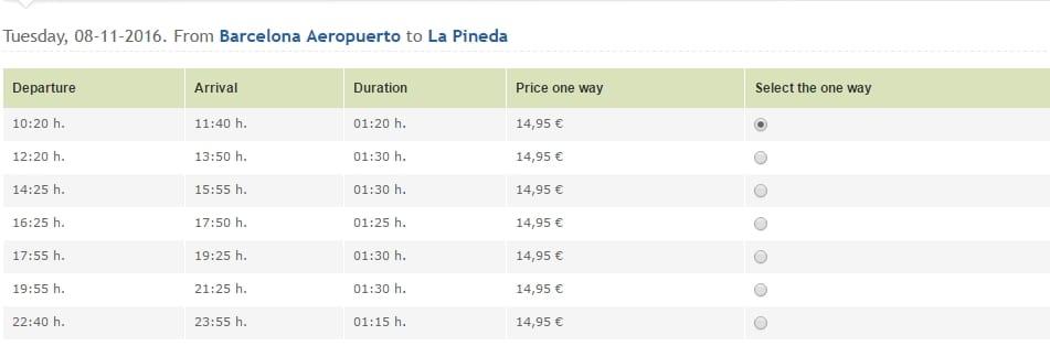 Расписание автобусов в Ла Пинеду из аэропорта Барселоны