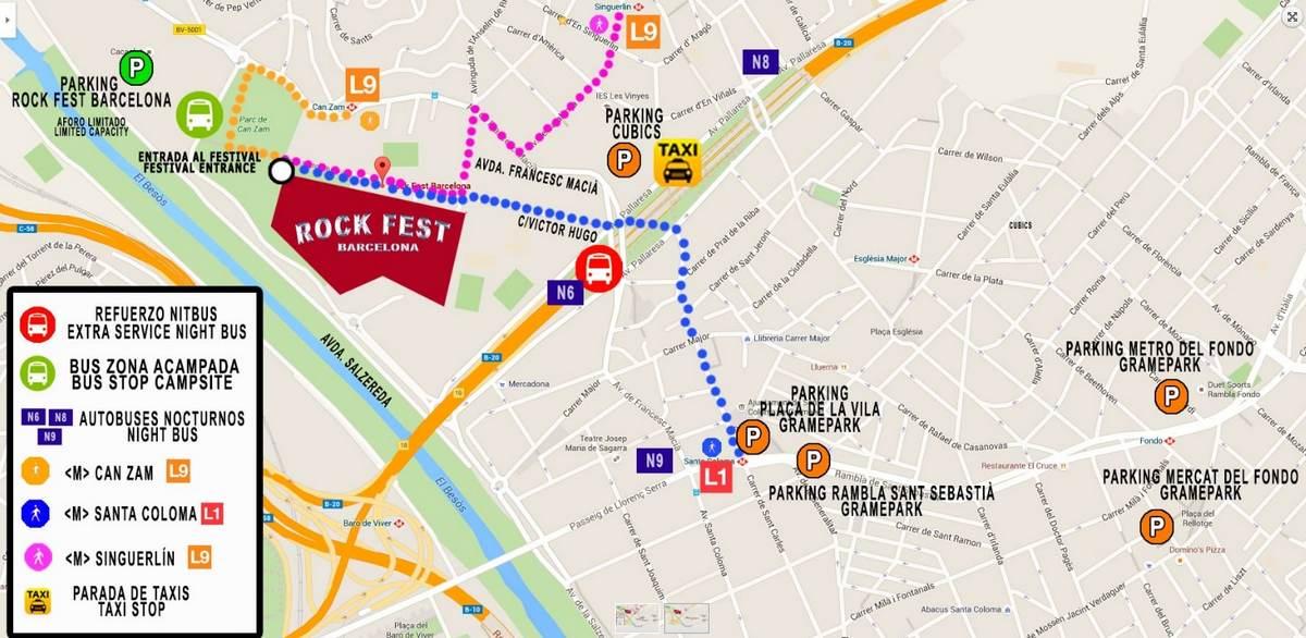 Парковки и место проведения Rock Fest Barcelona 2017